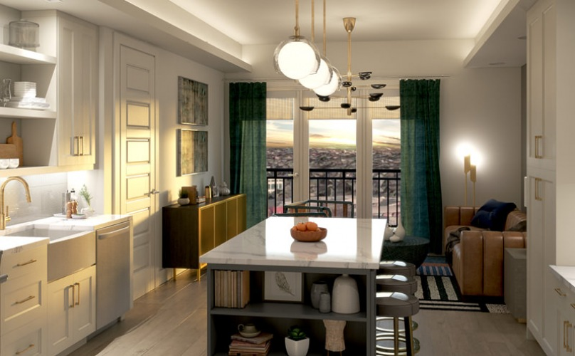 Galley style kitchen with balcony views